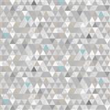 Vliesové tapety na stenu Modern trojuholníky sivo-modré so vzorom - POSLEDNÉ KUSY