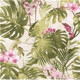 Vliesové tapety na stenu My Raid palmové listy s ružovými kvetmi orchidejí na bielom podklade