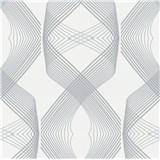 Vliesové tapety na stenu Natalia 3D geometrický vzor sivý na bielom podklade