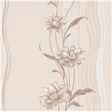Vliesové tapety na stenu Natalia kvety hnedé na podklade s vlnovkami
