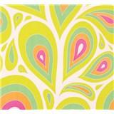 Vliesové tapety NENA kvapky ružovo-zelené