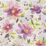 Vliesové tapety na stenu Allure kvety fialové so zelenými lístkami