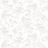 Vliesové tapety na stenu Daphne stonky lesklé svetlo hnedé na bielom podklade