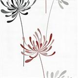 Vliesové tapety na stenu Novara kvety červené a čierne na bielom podklade
