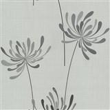 Vliesové tapety na stenu Novara kvety sivé - POSLEDNÝ KUS
