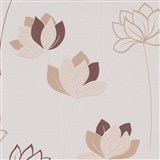 Vliesové tapety na stenu IMPOL Novara 3 kvety hnedé na krémovom podklade