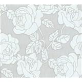 Vliesové tapety na stenu Opal kvety na svetlo sivom podklade s jemným ligotom