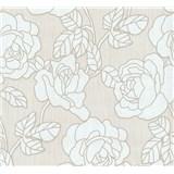 Vliesové tapety na stenu Opal kvety na krémovom podklade s jemným ligotom - POSLEDNÉ KUSY