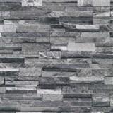 Vliesové tapety na stenu Origin - kameň pieskovec čierno-sivý