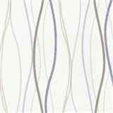 Vliesové tapety na stenu Patchwork - vlnovky modro-hnedé