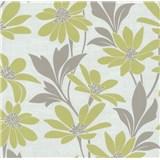 Vliesová tapeta na stenu Polar kvety s listami zelené - POSLEDNÉ KUSY