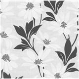 Vliesová tapeta na stenu Polar kvety s listami bielo-čierne - POSLEDNÉ KUSY