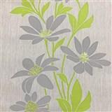 Vliesové tapety na stenu Polar sivé kvety so zelenými lístkami a lesklými detailami