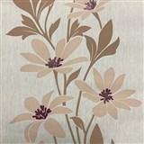 Vliesové tapety na stenu Polar béžové kvety s tmavými lístky a lesklými detaily