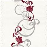 Vliesové tapety na stenu Pure and Easy kvety červené so strieborným ornamentom