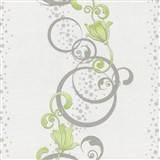 Vliesové tapety na stenu Pure and Easy kvety zelené so strieborným ornamentom
