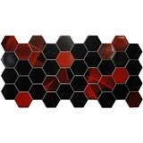 Obkladové 3D PVC panely rozmer 973 x 492 mm hexagon červeno-čierny Induction