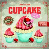 Retro tabula Cupcake 30 x 30 cm