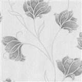 Luxusné vliesové tapety na stenu Spotlight 2 kvety sivé so striebornými  kontúrami na sivom podklade