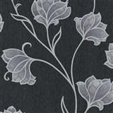 Luxusné vliesové tapety na stenu Spotlight 2 kvety strieborné so sivými kontúrami na čiernom podklad