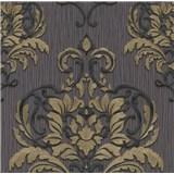 Vliesové tapety na stenu IMPOL Spotlight 3 zámocký vzor zlato-čierny