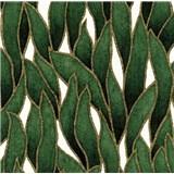 Vliesové tapety na stenu IMPOL Spotlight 3 popínavé listy zeleno-zlaté na krémovom podklade