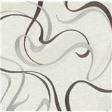 Vliesové tapety na stenu IMPOL Spotlight 3 moderné vlnovky hnedo-sivé na krémovom podklade
