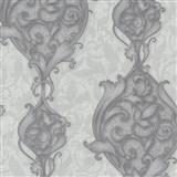 Vliesové tapety na stenu Studio Line - Opulent zámocké ornamenty bielo-strieborné s trblietkami