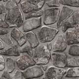 Tapety na stenu papierové - kamenná stena hnedo - čierna