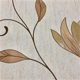 Vliesové tapety na stenu kvety svetlo hnedé so zlatými trblietkami