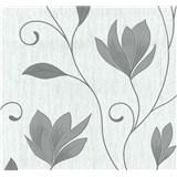 Vliesové tapety na stenu kvety sivé so striebornými trblietkami