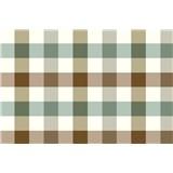 Obrus metráž kocky zeleno-hnedé