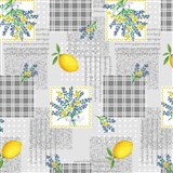 Obrus metráž citróny s kvetinami
