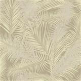Vliesové tapety na stenu IMPOL EDEN palmové listy béžovo-zlaté s metalickým odleskom