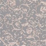 Luxusné vliesové  tapety na stenu Versace III klasický barokový vzor sivo-nachový