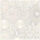 Luxusné vliesové  tapety na stenu Versace III koláž bielo-strieborná