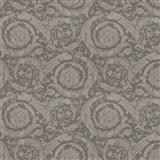 Luxusné vliesové  tapety na stenu Versace III barokový kvetinový vzor sivo-hnedý