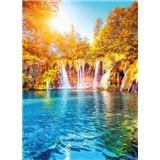 Vliesové fototapety vodopád a jezero v Chorvatsku rozmer 184 x 254 cm