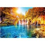 Vliesové fototapety vodopád a jezero v Chorvatsku rozmer 368 x 254 cm
