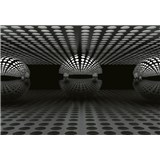 Fototapety 3D guľa strieborná rozmer 368 x 254 cm