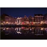 Vliesové fototapety Amsterdam v noci rozmer 368 x 254 cm
