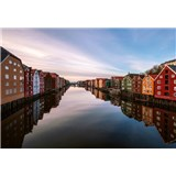 Vliesové fototapety farebné domy v Norsku rozmer 368 x 254 cm