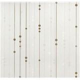 Vinylové tapety na stenu WohnSinn - prúžky s guličkami béžovo-zlaté