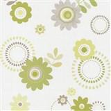 Papierové tapety na stenu X-treme Colors - kvety zelené