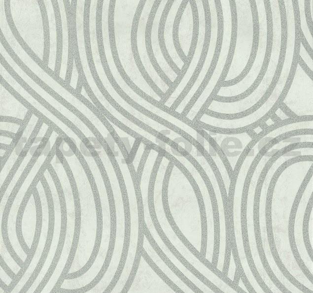 477367fad6e8f Vliesové tapety na stenu Carat moderný vzor strieborný na bielom podklade