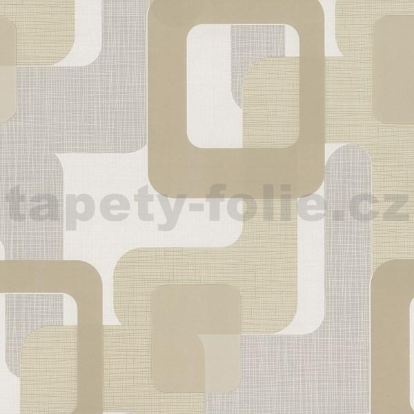 6cc0c330c5b65 Vliesové tapety na stenu Novara moderné štvorce svetlo hnedé ...