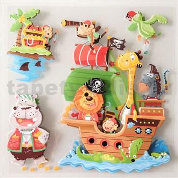 3D samolepky na stenu detské piráti