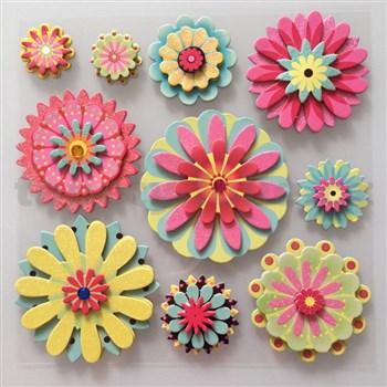 3D samolepky na stenu detské kvetinky