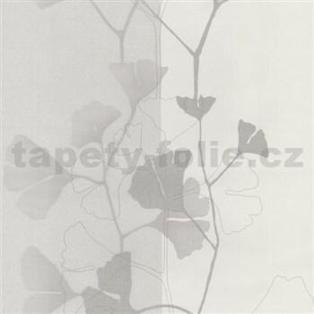 Vliesové tapety na stenu 4ever - listy Ginkgo šedo-strieborné