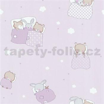 Papierové tapety na stenu Dieter Bohlen 4 Kidz medvedíky na ružovom podklade